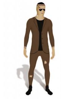 Morphsuit Monster im Anzug braun-beige-schwarz