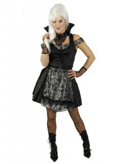 Vampir-Dirndl Damenkostüm Halloweenkostüm schwarz-silber