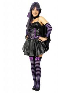 Fledermaus Gothic Vampirin Halloween Damenkostüm schwarz-lila