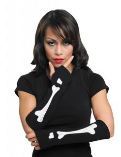 Armstulpen Skelett Gothic schwarz-weiss
