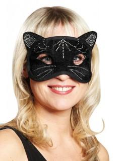Domino Maske Katze schwarz-silber