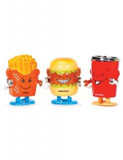 Fast Food Figuren zum Aufziehen bunt 3x3,5x5,5cm