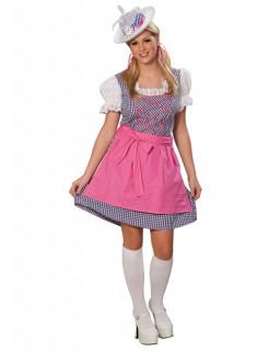 Dirndl Bayern Tracht Damenkostüm blau-weiss-rosa
