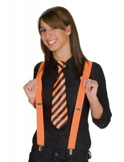 Krawatte Punk gestreift orange-schwarz