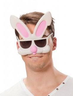 Hase Disco Party Brille weiss-rosa