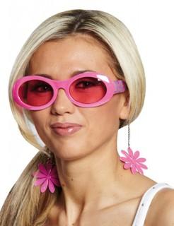 Disco Party Blumen Brille rosa-rot