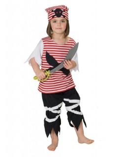 Piratin Piratenmädchen Kinderkostüm rot-schwarz-weiss