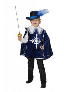 Musketier Ritter Mittelalter Kinderkostüm dunkelblau-weiss-silber