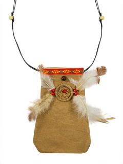 Indianer Beutel Tasche Wildleder braun-weiss