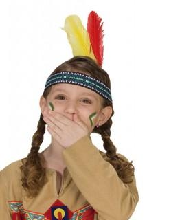 Indianer Stirnband für Kinder Federschmuck gelb-rot-blau