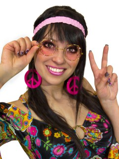 60er 70er Hippie Peace Set Brille Ohrringe und Stirnband rosa-pink