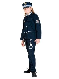 Polizei Polizist Kinderkostüm dunkelblau-hellblau