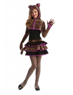 Leopard Leo Katze Teen-Kostüm schwarz-lila-braun