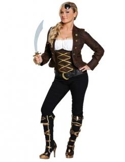 Piratin Damenkostüm braun-weiss-gold