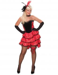 CanCan Showgirl Burlesque Western Damenkostüm rot-schwarz