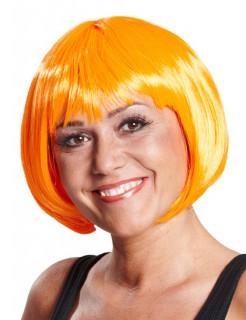 Karneval Fasching Pagenkopf Perücke neon-orange