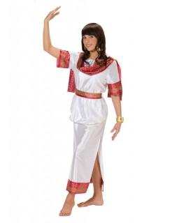 Griechin Göttin Cleopatra Antike Damenkostüm weiss-rot-gold