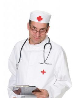 Sanitäter Arzt Doktor Rotkreuz Mütze weiss-rot