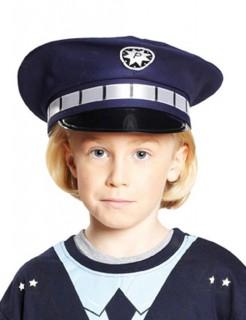 Polizei Mütze Polizist Kinder blau-silber