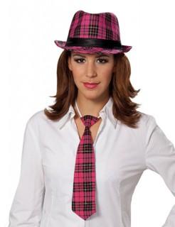 Fedora Hut kariert pink-schwarz
