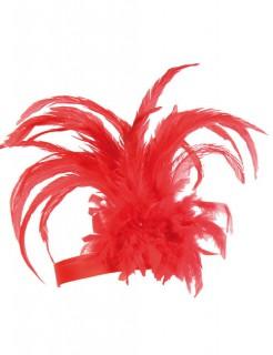 20er Charleston Showgirl CanCan Stirnband Federn rot
