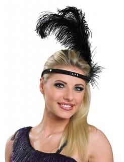 20er Charleston Showgirl CanCan Stirnreif Federn schwarz