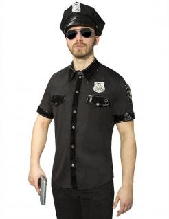 Polizei Polizist Hemd schwarz-silber