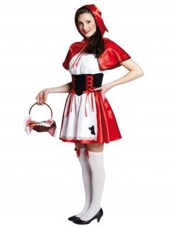 Rotkäppchen Märchen Damenkostüm Wolfstickerei weiss-rot-schwarz