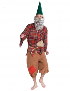 Zwerg Kostüm Märchen rot-grün-braun