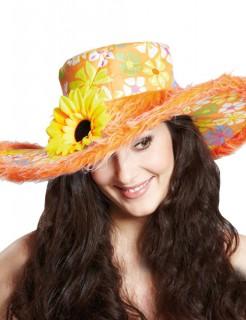 Hippie Blumen Party Hut Sonnenblume orange-gelb-grün