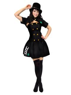 Schornsteinfegerin Damenkostüm Glückskostüm schwarz-gold-grün