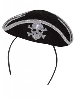 Piratin Mini Hut Dreispitz Haarreif Totenkopf silber-schwarz