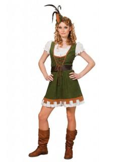 Bogenschützin Mittelalter Damenkostüm grün-weiss-braun