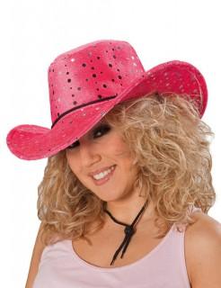 Cowboyhut Cowgirlhut mit Pailletten pink-silber