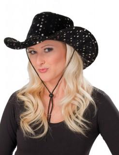 Cowboyhut Cowgirlhut Samt Pailletten schwarz