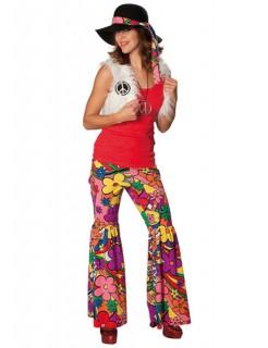 60er 70er Hippie Peace Damenkostüm weiss-bunt