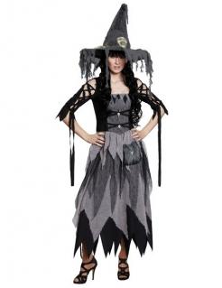 Klassische Hexe Halloween Damenkostüm grau-schwarz