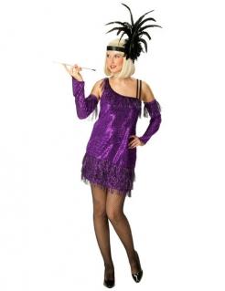 20er Charleston Showgirl Pailletten Damenkostüm lila