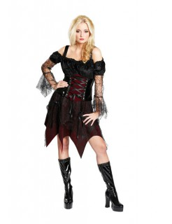 Vampirin Gothic Halloween Damenkostüm Hexe schwarz-bordeaux