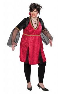 Vampirin Gothic Mittelalter XL Damenkostüm rot-gold-schwarz