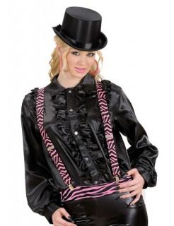 Zebra Hosenträger schwarz-pink
