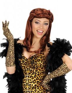 Leopard Handschuhe braun-schwarz 42cm