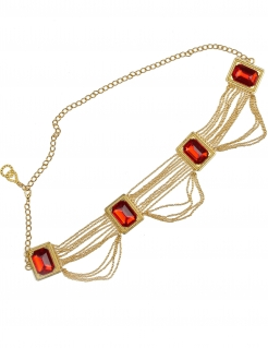 Bauchtänzerin Hüftkette Taillengürtel gold-rot