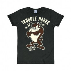 Taz-T-Shirt Looney Tunes™ Trouble Maker Slim Fit schwarz-braun-weiss