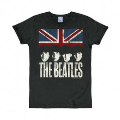 The Beatles-T-Shirt Union Jack schwarz-weiss-rot-blau