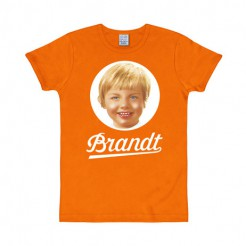 Brandt-T-Shirt 70er Jahre Slim Fit orange-weiss