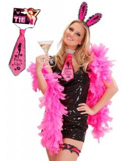 Satin-Krawatte Party Girl Junggesellinnenabschied pink-schwarz