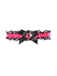 Satin Strumpfband mit Schleife Junggesellinnen-Abschied pink-schwarz