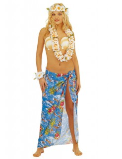 Hawaii Girl Pareo-Rock blau-bunt