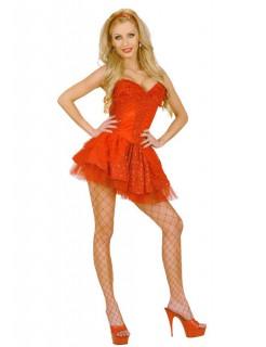 Pailletten Mini-Rock mit Spitze und Petticoat rot